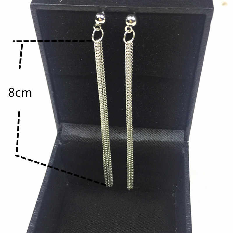 ใหม่แฟชั่นทองเงิน Dangle แขวนสีดำ Rhinestone Long Drop ต่างหูสำหรับผู้หญิงเครื่องประดับ brincos Bijoux