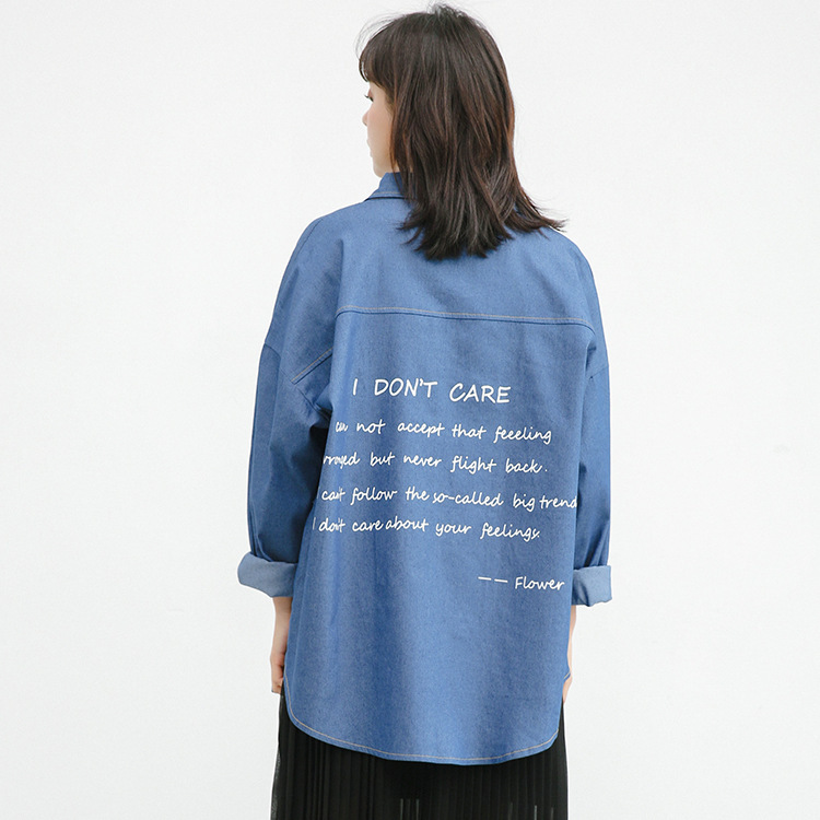 Trench Coat Sale Cotton Bf Wind Will Code Easy Cowboy Shirt 2018 Spring New Pattern Good Quality Back Printing Loose Coat Woman