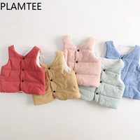 PLAMTEE Cardigan Boys Girls Vest V-neck Sleeveless Children Clothing Candy Color Down Cotton Baby Tops Kids Outerwears Autumn