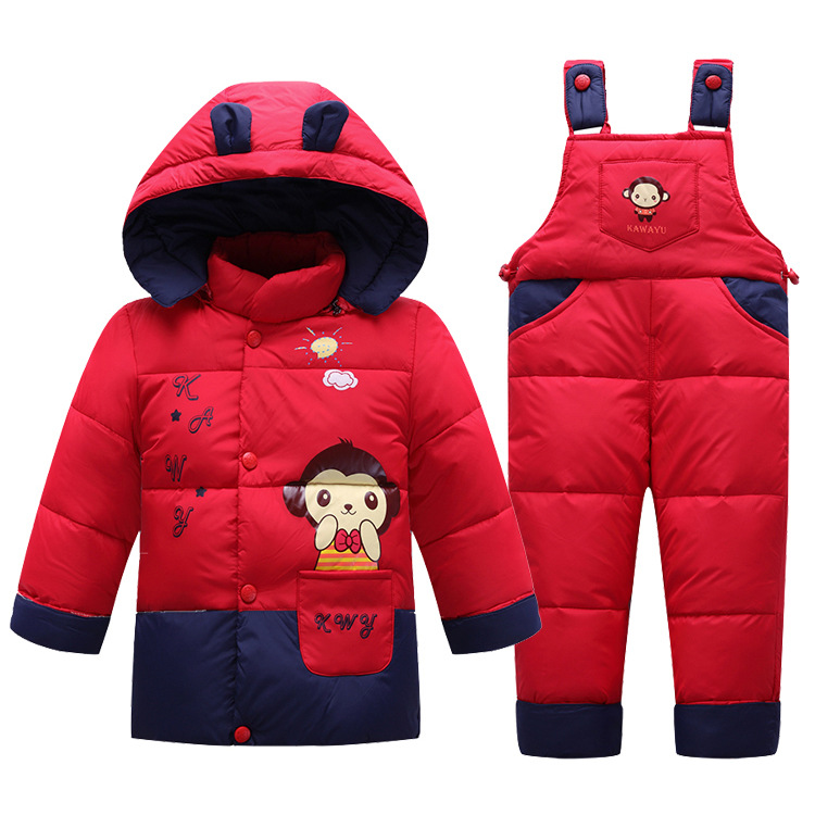 ФОТО Baby Clothes Set Kids Hooded Jacket with Scarf Children Boys Girls Winter Warm Down Jacket & Coat Pony Pattern Suit Set V-0481