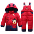 Baby Clothes Set Kids Hooded Jacket with Scarf Children Boys Girls Winter Warm Down Jacket & Coat Pony Pattern Suit Set V-0481