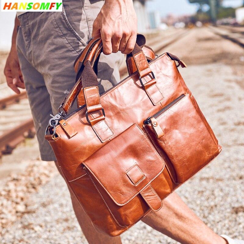 100% Genuine Leather Men Handbag Cross Section Business 15
