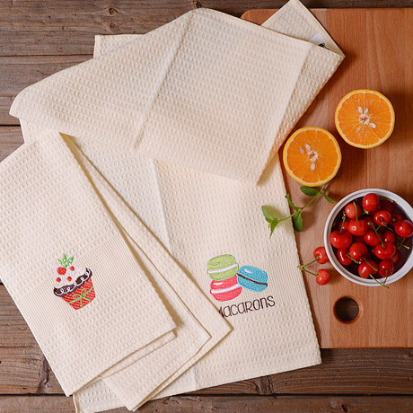 Elegant Creative Cute Dessert Embroidery Cotton Cloth Cleaning Cloths Table  Cleaning Tool Kitchen Towel Dish Cloth Dish