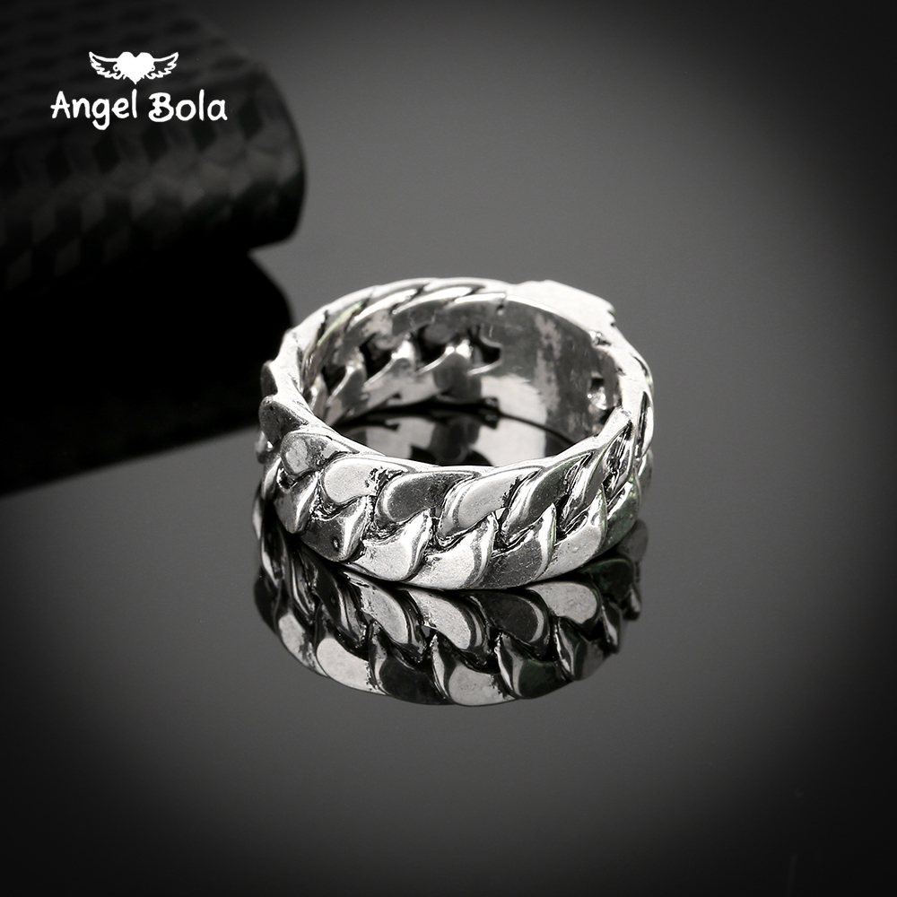 Female Male Jewelry Buddha Ring 2017 Motorcycle Chain Ring Ancient Silver Men Biker Charm Bicycle Rings Free Shipping