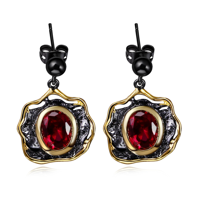 DC1989 Free shipping 2016 New design Flower  Gold black Plated Cubic Zirconia Copper Lead free Drop earrings for women (E14)