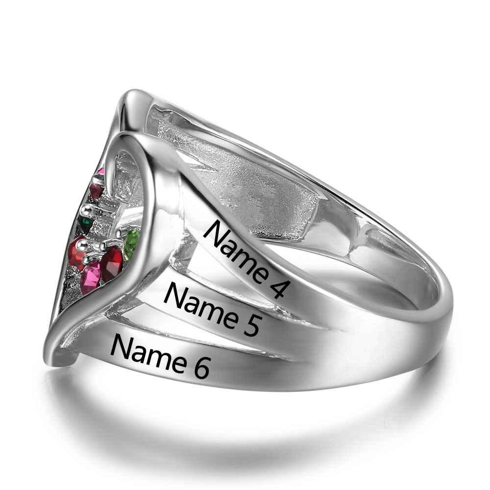 ff2f540c7 Nuevo anillo de piedra de Plata de Ley 925 grabado nombre Anillos De  Compromiso amor corazón forma anillos caja de regalo gratis joyería  RI102734 en Anillos ...