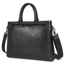 Hot Selling Guarantee Cow Leather Black Mens Briefcases Laptop Handbag Unique Design Business Bag 7404A