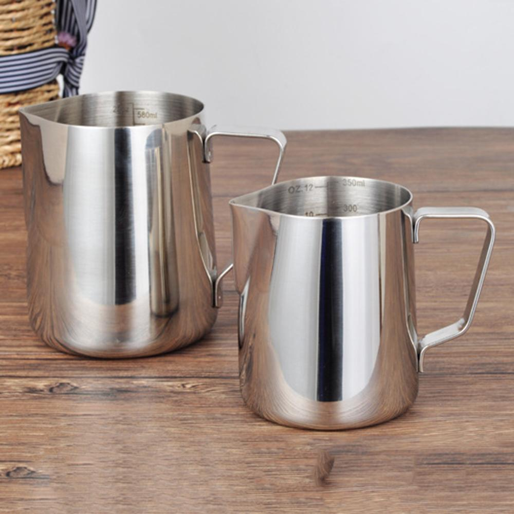 90/350/600ml Stainless Steel Frothing Pitcher Pull Flower Cup Coffee Milk Mugs Milk Frother With Scale Latte Art Kitchen Access