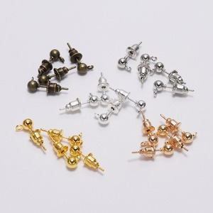 50pcs 3 4 5mm Gold/Silver/Rhodium Earrings Studs Bullet Back Stopper Ball Beads Head Earring Ear Pin Supplies For Jewelry Making