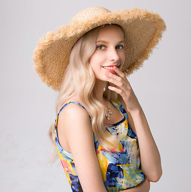 2017 new raffia hat for women ladies summer beach hat  caps with wide brim dome hats solid 7 color sun hat in store