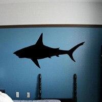 כריש לבן גדול DCTOP ויניל קישוט בית מדבקות קיר נשלף חדר שינה מדבקות קיר בעלי החיים צללית קיר תפאורה