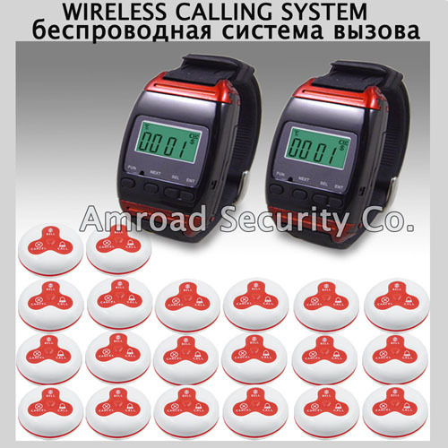 1 Set Wireless Call Calling System Waiter Server Paging Service System 2 Watch Receiver + 20 Calling Buttons AT-65020, DHL/EMS