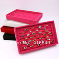 Free Shipping Wholesale 2pcs/lot Rose 7 rows Jewelry Rings Display Show Case Organizer Tray Box