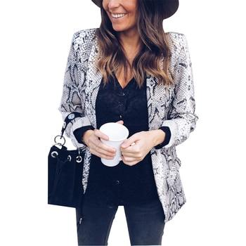 Snake Skin Print Blazer Women Leopard Suits & Blazer Autumn Winter 2018 Office Lady Work Wear Coat Casual Blazers and Jackets