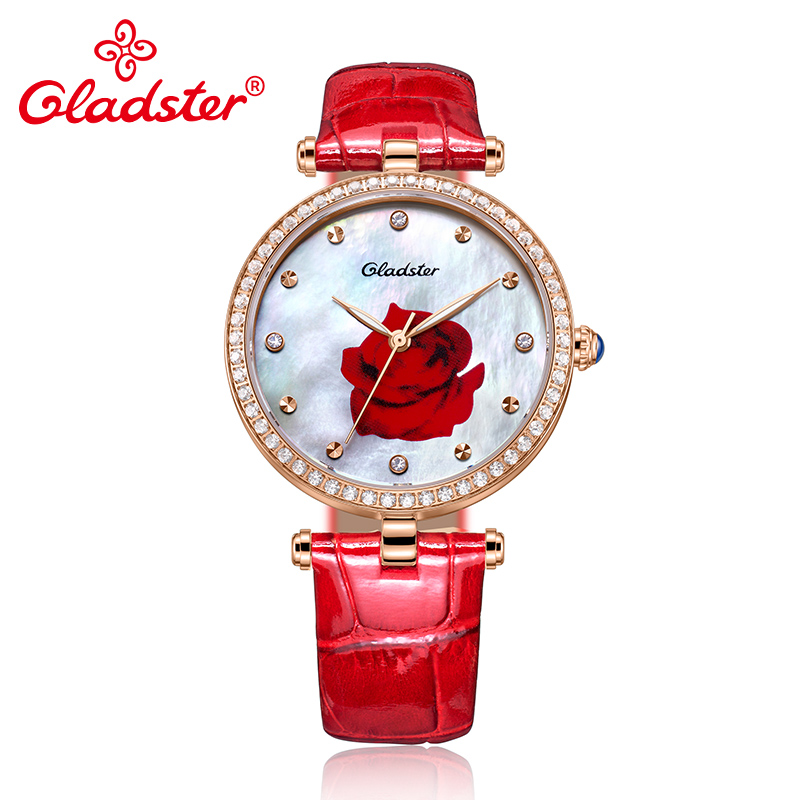Gladster Ladies Watches Top Brand Luxury Gold Case Pearl Dial Wrist Watch Red Leather Diamond Women quartz-watch Fashion Clock amica luxury crystal diamond blue shell dial womens quartz watch ladies watch