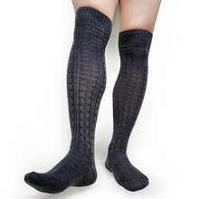 Over Knees Stocking for Mens Sexy Cotton Winter Warm Long Knit socks Business Formal Dress Suit Boot Socks Hose Striped