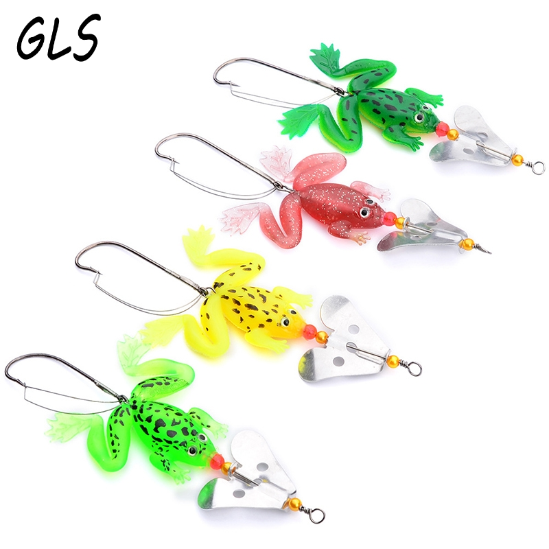 4PC 4colors soft tube bait japan plastic fishing lures frog lure treble hooks Topwater ray frog 9CM 6.2G artificial soft bait