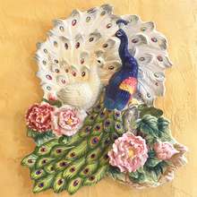 ceramic Peacock lovers decorative wall dishes porcelain plates vintage home decro crafts room decoration figurine