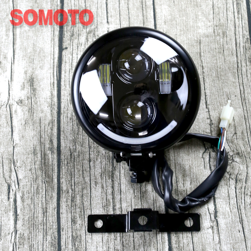 5.75 inchHigh Quality Motorcycle Headlamp Universal boober chopper Vintage Motorbike Fro ...