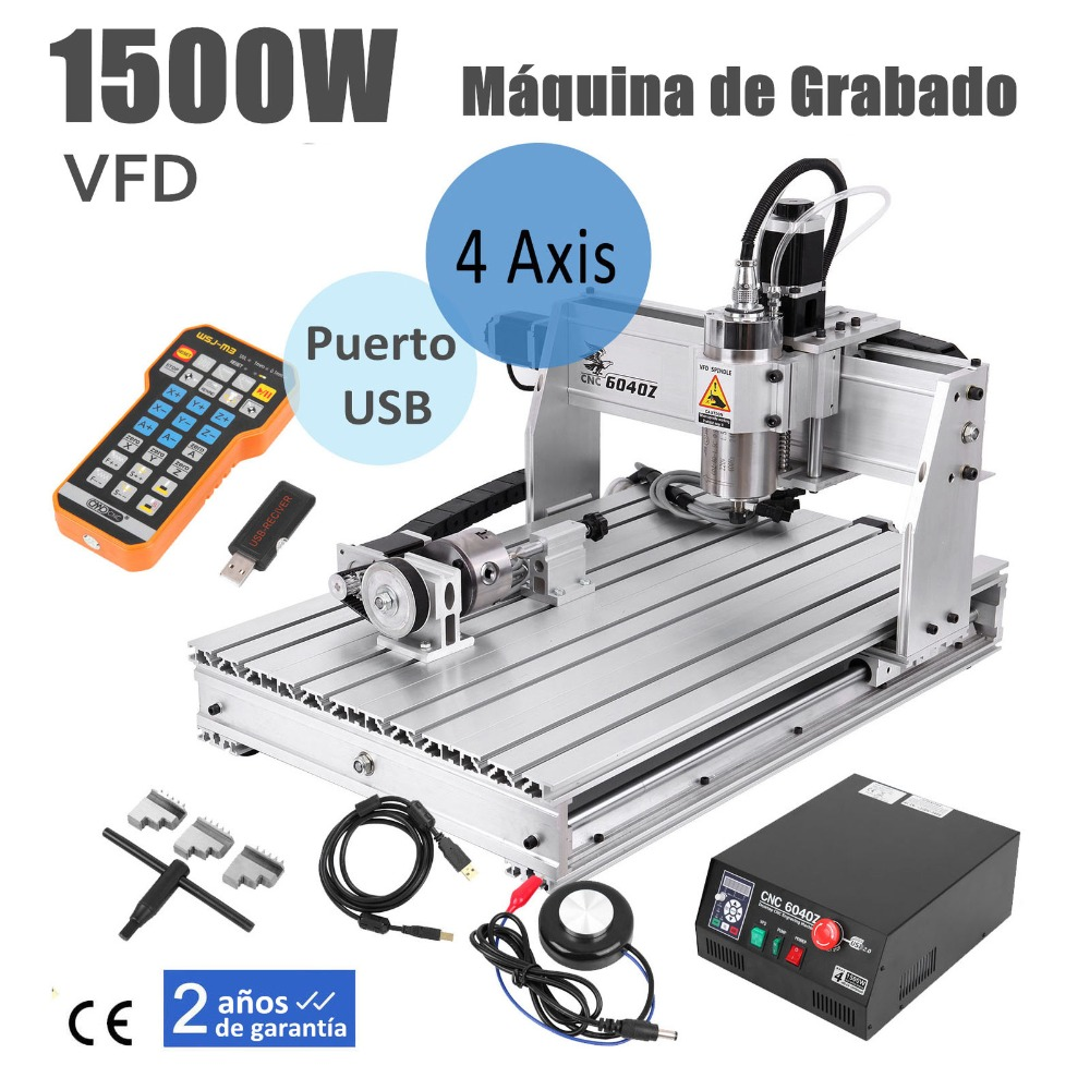 USA Shipping! DIY Desktop 1500W 4 Axis <font><b>6040</b></font> <font><b>CNC</b></font> <font><b>Router</b></font> Frame Engraving Milling Cutting Machine for Metal Aluminum Wood image