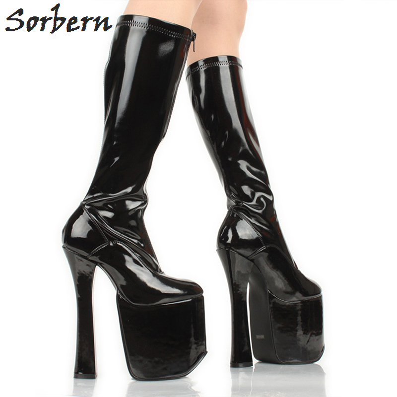 Sorbern 20Cm Ladies High Heeled Boots Square Style Ultra High Heeled Cosplay Boots Knee High Platform Brown Women Boots 2018Sorbern 20Cm Ladies High Heeled Boots Square Style Ultra High Heeled Cosplay Boots Knee High Platform Brown Women Boots 2018