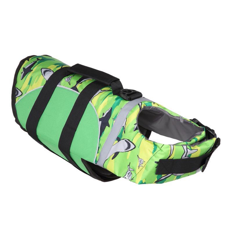 Dog Life Jacket Size Adjustable Dog Life Preserver Durable Life Vest Buoyant Lifesaver (Green)
