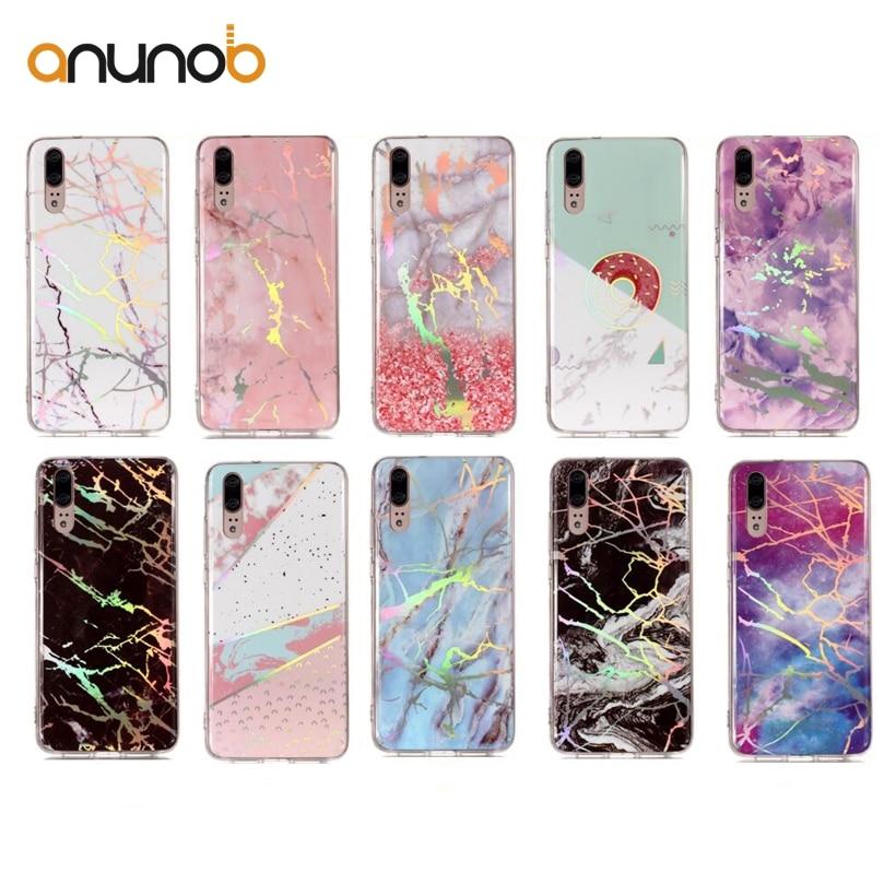 Anunob Case For Huawei P20 Pro Case Glitter Marble Stone Huawei Nova 3E Plus Lite Cover Powder Glossy TPU Full Protection Cover