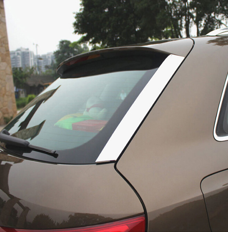 For Audi Q3 2013 2014 ABS Chrome Rear Window Around Cover Trim back chromium styling stickers