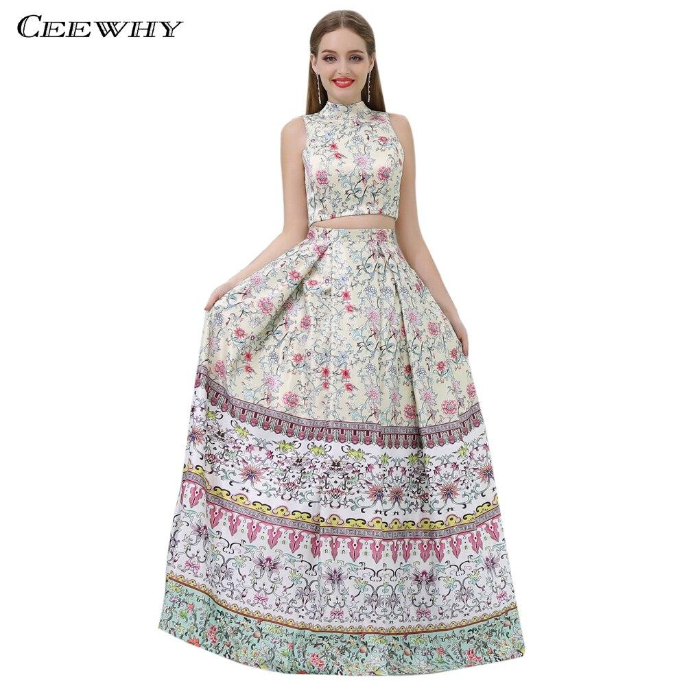 CEEWHY Two Piece Vintage Prom Dresses Floral Turkey Evening Dress Elegant Sundi Arabia Evening Gown Vestido de Festa Longo