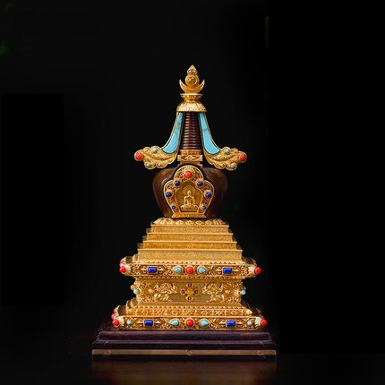 China Tibet Exquisite Pagoda Ornaments Pure Copper Inlaid Gemstone Bodhita Stupa Home Furnishing Articles