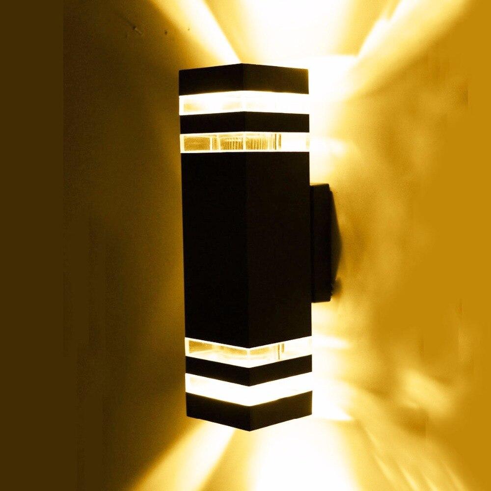 Lampes murales extérieures LED étanche IP65 AC90-260V avec 2 pièces * 5 W ampoule LED lumières de couloir de jardin de cour en aluminium