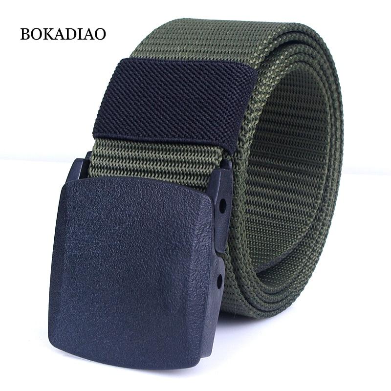 BOKADIAO Men&Women Nylon Canvas Belt POM Automatic Buckle Jeans Waist Belt Military Army Tactical Belts Luxury Strap Male Black