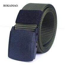 BOKADIAO Men&Women nylon Canvas belt POM automatic buckle jeans waist b