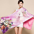2017 Double Layer Brushed Mulberry Silk Scarf For Women 190*52cm Female Long Design Satin Silk Cape Spring Autumn Purple Wraps