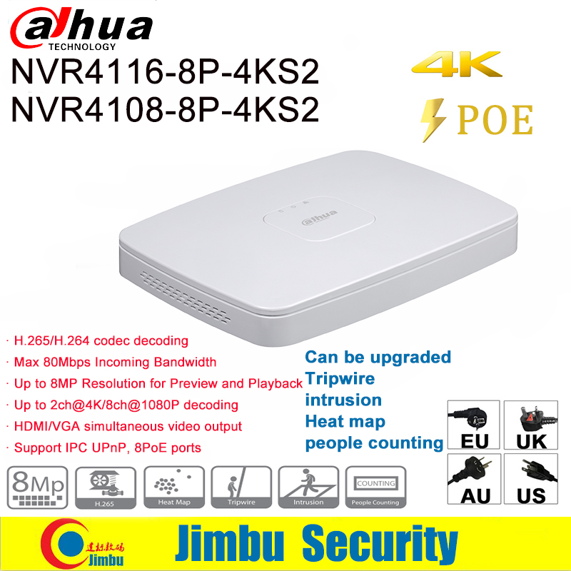 Dahua NVR NVR4108-8P-4KS2 NVR4116-8P-4KS2 Lite Network Video Recorder 4K 8CH / 16CH 8POE H.265 H.264 Up to 8MP For IP Camera DVR new hot sell dahua 8ch nvr h 264 1080p network video recorder nvr4108 8p smart 1u support english firmware and onvif
