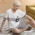 Free shipping  pure color cotton short sleeve Men's pajamas  Comfortable round collar  The fashion design  Soft and comfortable