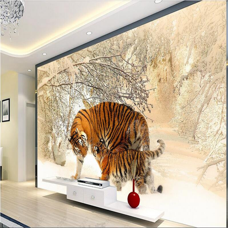 Beibehang custom mural wallpaper 3d east tiger winter snow for Custom mural wall covering