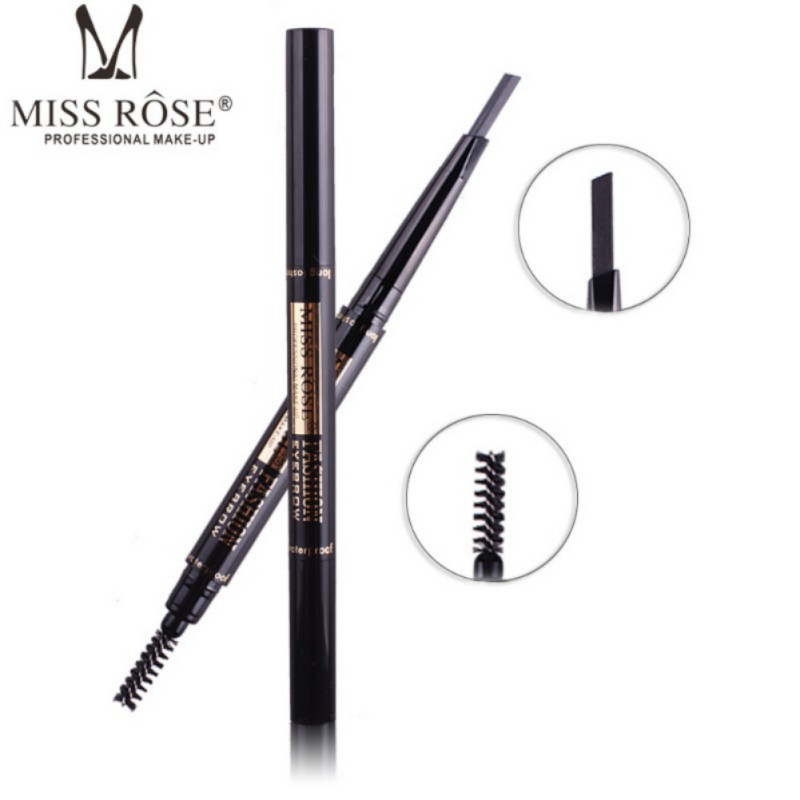 MISS ROSE 2 IN 1 Professional Double-end Eyebrow Pencils Waterproof Pigments Black Brown Color Brand Eye Brow Pen New