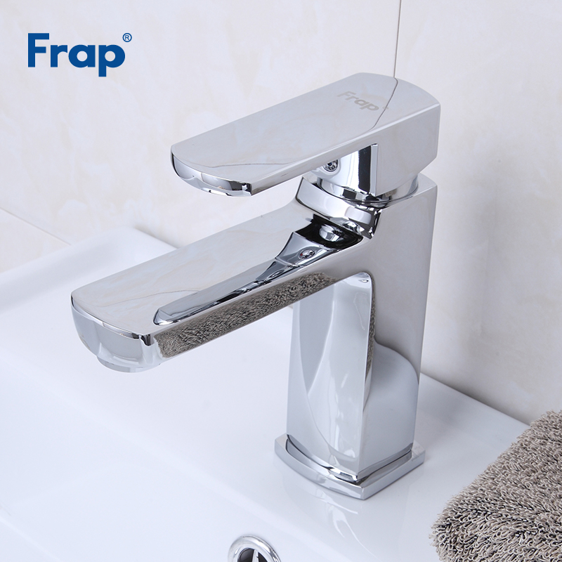 Frap Basin Faucets Deck Mounted Bathroom Faucet Hot and Cold Water Basin Mixer Tap Chrome Brass