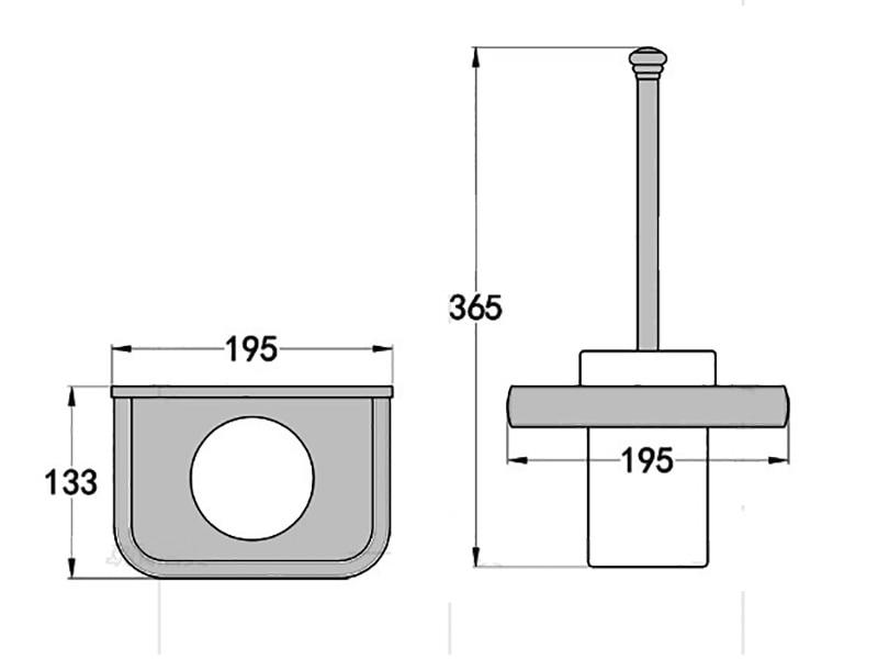chrome toilet brush holder size