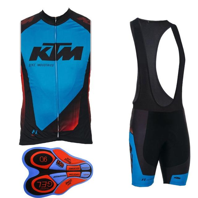 a72f371a8 Cycling Jersey KTM Pro sleeveless bib shorts Set 2018 Men bicycle clothing  breathable bicicleta bike clothes ropa ciclismo I8