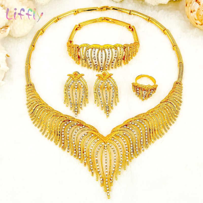 Liffly Fashion Jewelry Sets Nigeria Dubai Gold Jewelry Sets for Women Africa Bead Bridal Yellow Jewelry Set Wedding Gifts