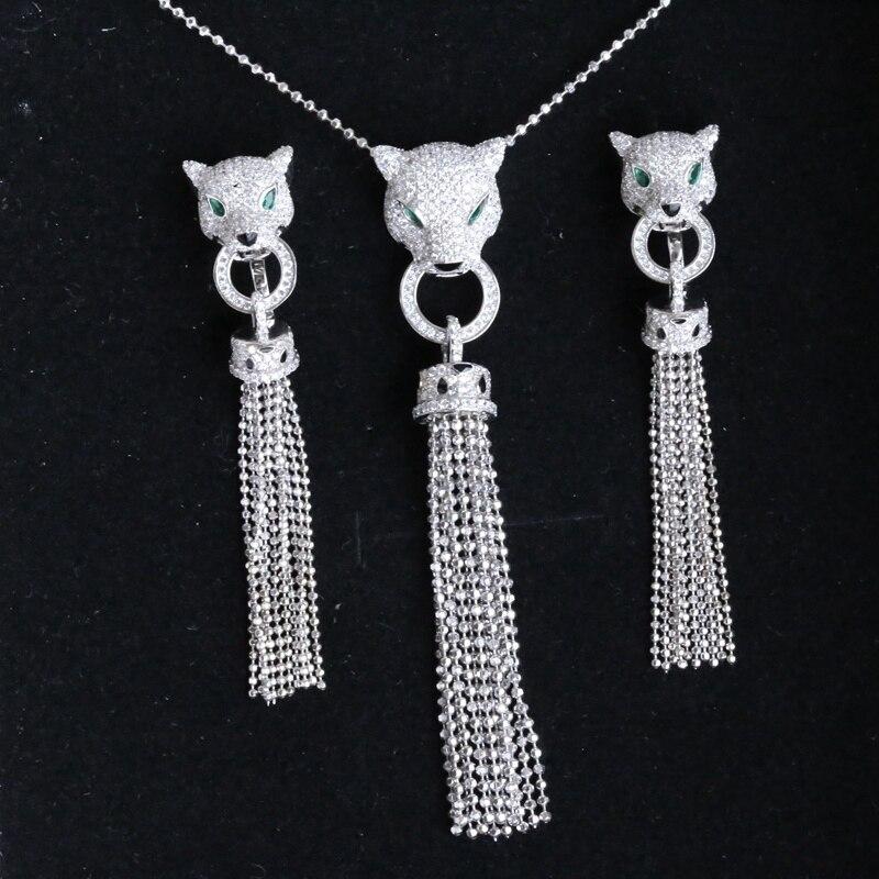 Luxus Quaste AAA Zirkon 925 Sterling Silber Leopard Halskette Stulpeohrring Schmuck Set AP * Tier Halskette Frauen Hochzeit Set-in Schmucksets aus Schmuck und Accessoires bei  Gruppe 1