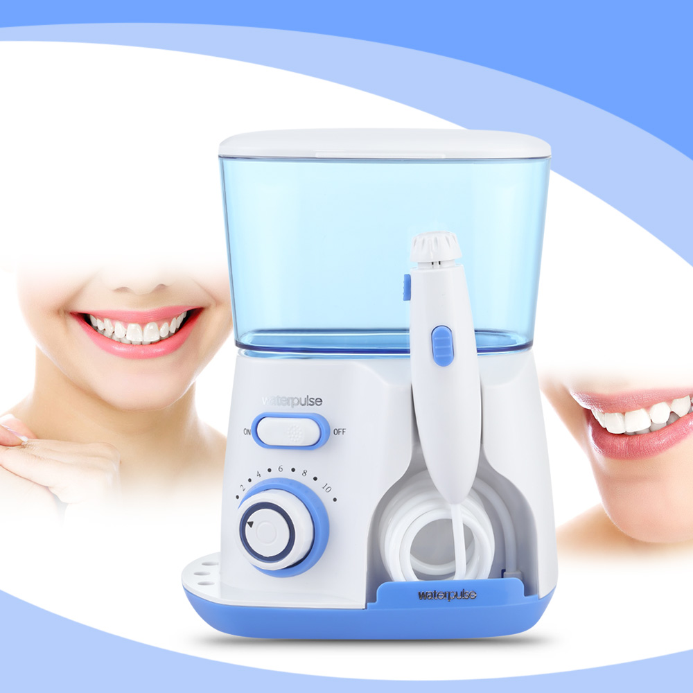 Waterpulse Professional 700ml Dental Water Flosser Jet Oral Irrigator Power Oral Care Teeth Cleaner 100 - 240V With 5 Tips 2017 teeth whitening oral irrigator electric teeth cleaning machine irrigador dental water flosser professional teeth care tools