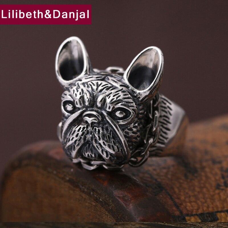 Hommes bague 100% réel 925 bijoux en argent sterling Vintage Animal chien cadeau de noël réglable anneau d'ouverture hommes bijoux MR3