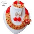 Модный Красный и золотой шампанское Кристалл Ожерелья Нигерийские Африканских свадебные Бисер Комплект Ювелирных Изделий Бесплатный shippingLY731
