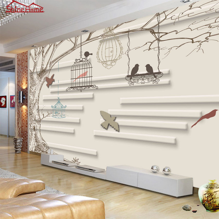 Cute Sketch Art Singing Birds On Trees Natrual 3d Photo Wallpaper Mural Rolls For Wall Paper