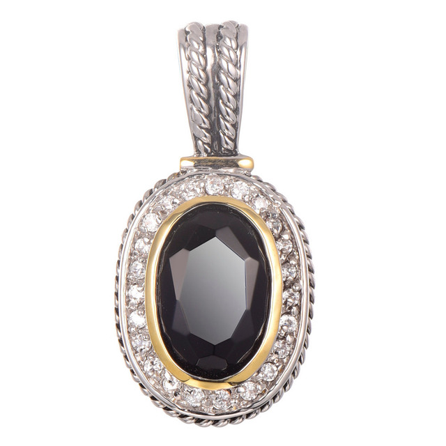 Black onyx With Multi White Crystal Zircon Pendant 925 Sterling Silver Beautiful Attractive Jewelry Pendant TE655