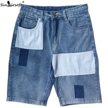 Denim Patchwork Shorts Men Streetwear Stretch Straight Jeans Short Homme Cowboy Casual Button Fly Waist Clothing Spliced Summer