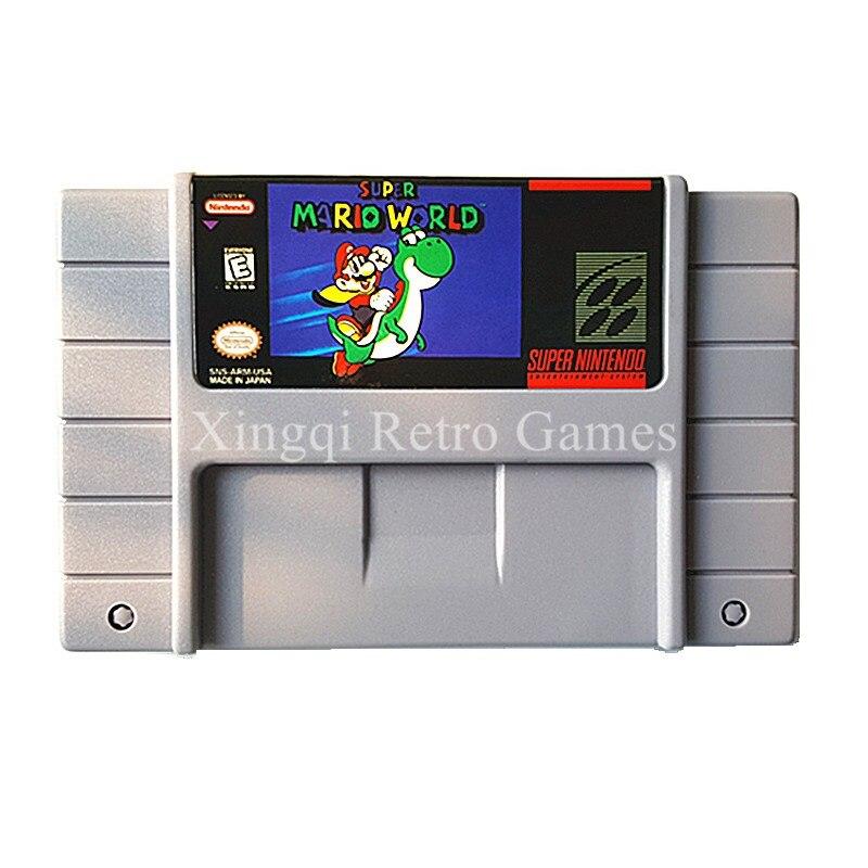 Super Nintendo SFC SNES Game Super Mario World Video Game Cartridge Console Card US English Version